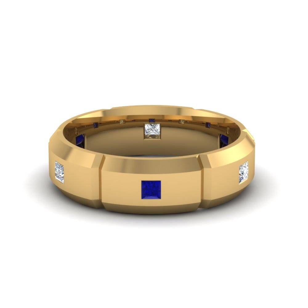 14k Yellow Gold Blue Sapphire Men's Wedding Band | Fascinating Within Mens Diamond And Sapphire Wedding Bands (View 13 of 15)