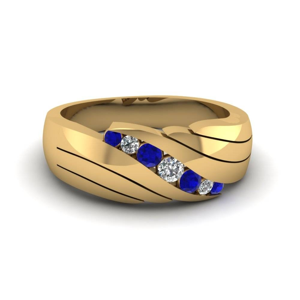 14K Yellow Gold Blue Sapphire Men's Wedding Ring | Fascinating Pertaining To Mens Blue Sapphire Wedding Bands (View 2 of 15)