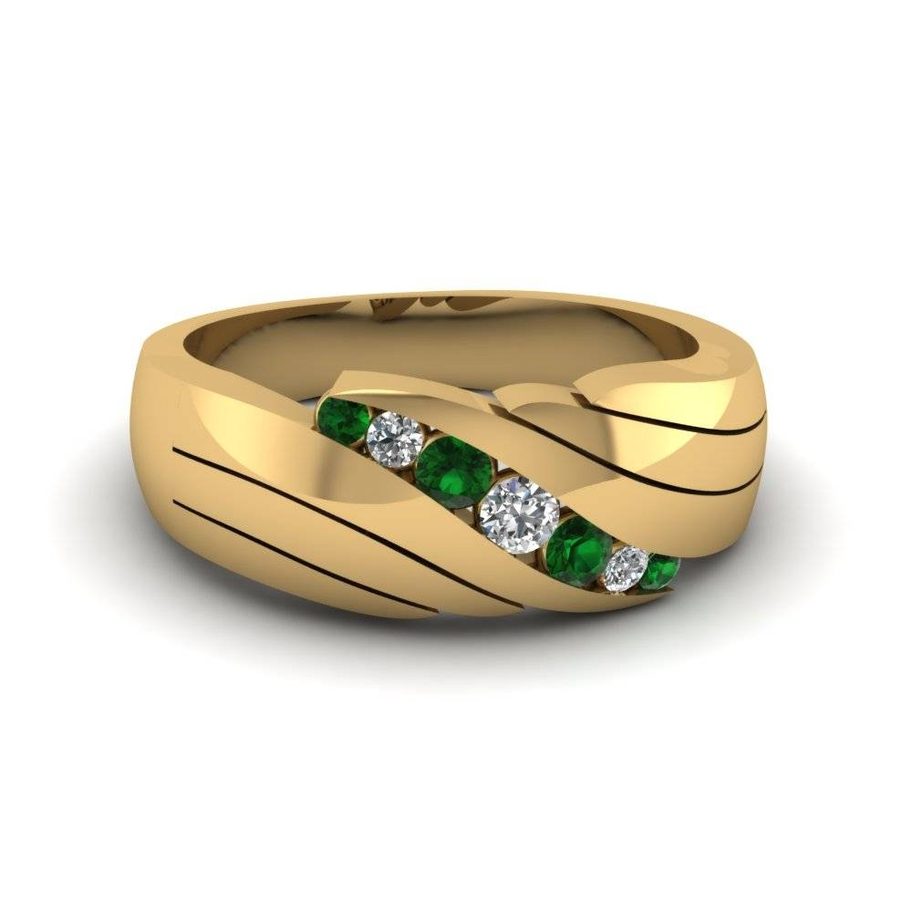 14K Yellow Gold Green Emerald Men's Wedding Ring | Fascinating In Green Men's Wedding Bands (View 1 of 15)
