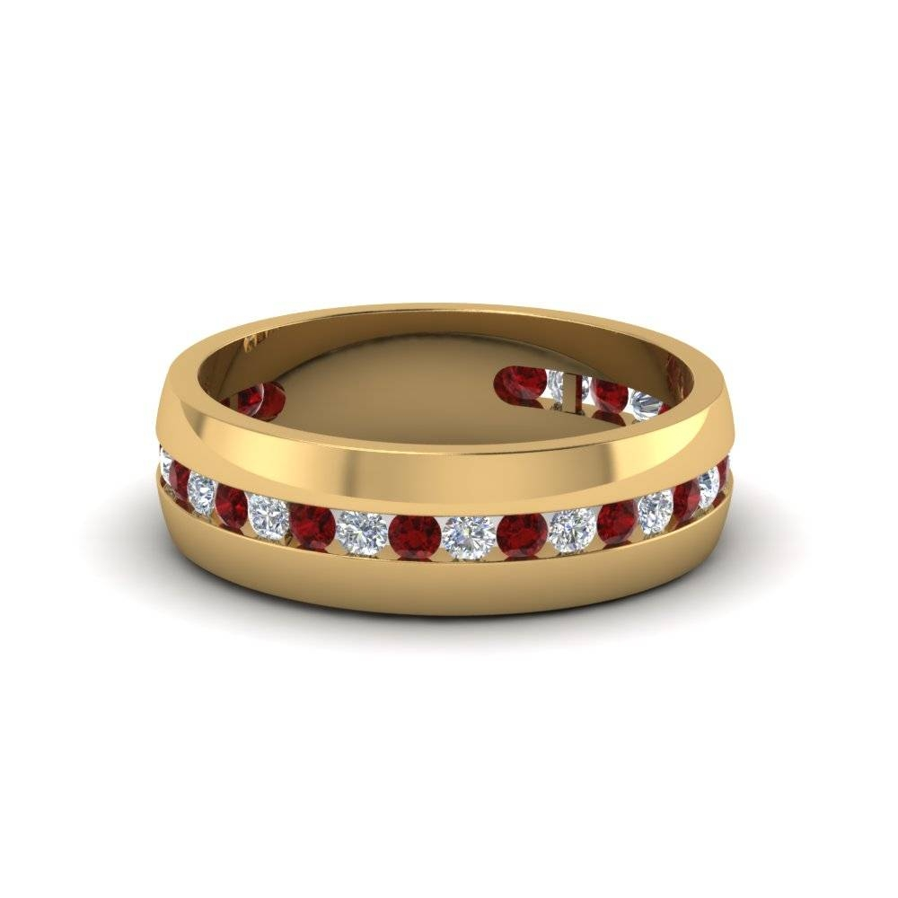 14K Yellow Gold Red Ruby Men's Wedding Ring | Fascinating Diamonds Inside Men's Wedding Bands With Ruby (View 1 of 15)