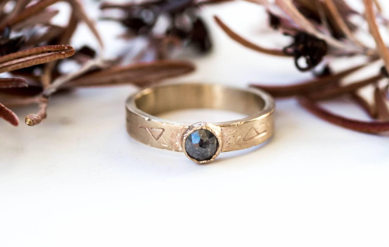 14K Yellow Gold Rose Cut Diamond Engagement Ring, Grey Diamond For Viking Engagement Rings (View 1 of 15)
