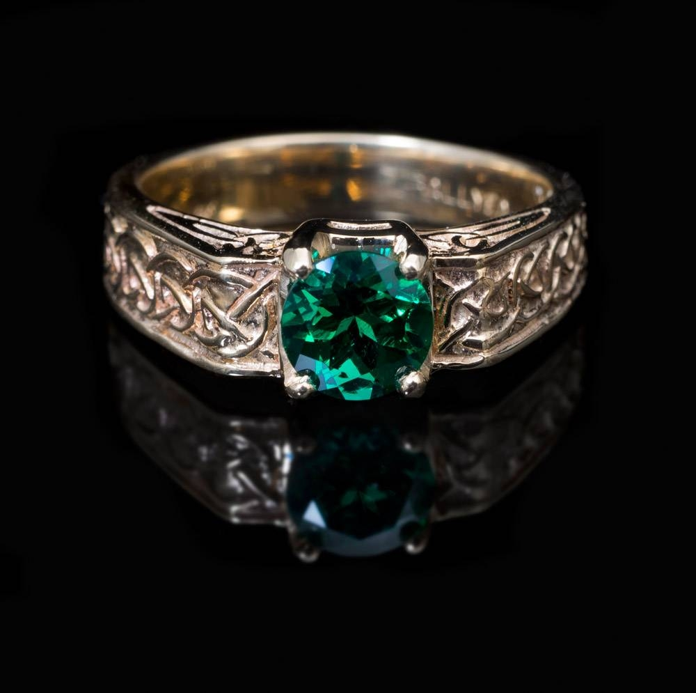 14Kt Chatham Emerald Celtic Knot Ring For Celtic Knot Engagement Rings (View 1 of 15)