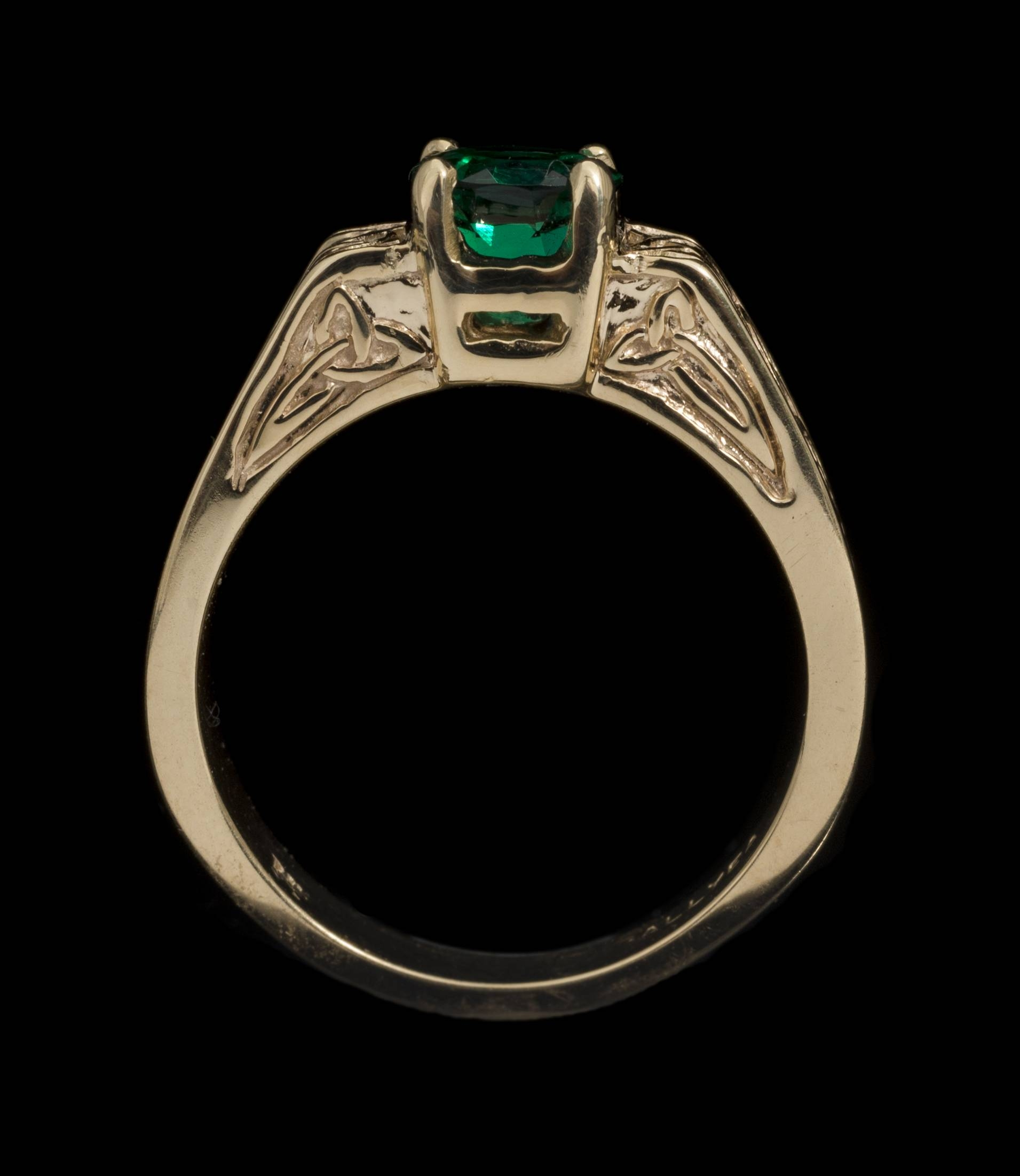 14Kt Chatham Emerald Celtic Knot Ring Throughout Celtic Emerald Engagement Rings (View 1 of 15)
