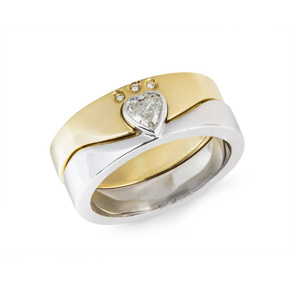 14Kt Gold Diamond Two Part Ladies Claddagh Ring | Claddagh Jewellers Regarding Diamond Claddagh Engagement & Wedding Ring Sets (View 4 of 15)