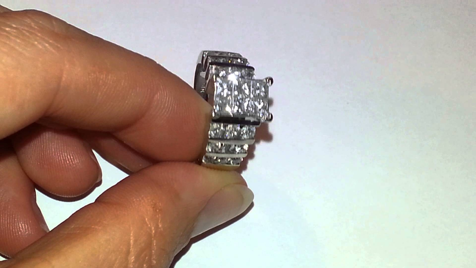 14Kt Invisible Set 6 Princess Cut  (View 4 of 15)