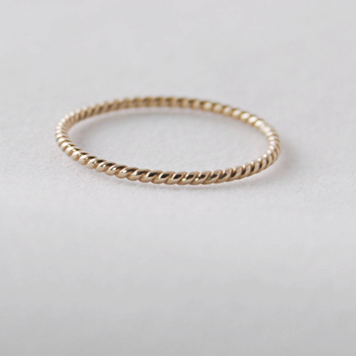 14Kt Solid Gold Twist Ring 1Mm, Dainty, Minimalist, Thin Rose Gold With Dainty Wedding Bands (View 1 of 15)