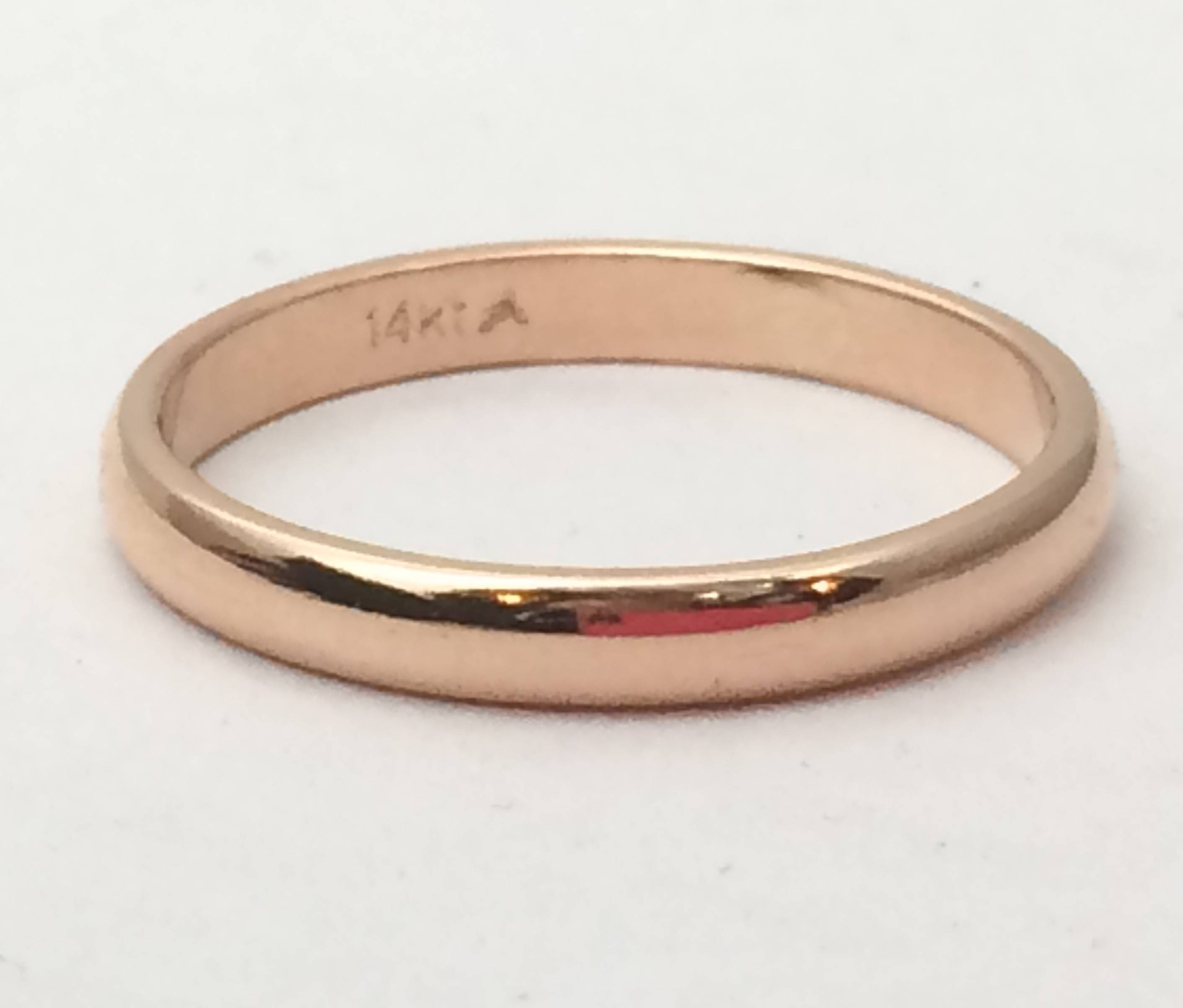 14Kt Solid Rose Gold Wedding Band, Rose Gold Ring, 3Mm1.5Mm Intended For  (View 6 of 15)