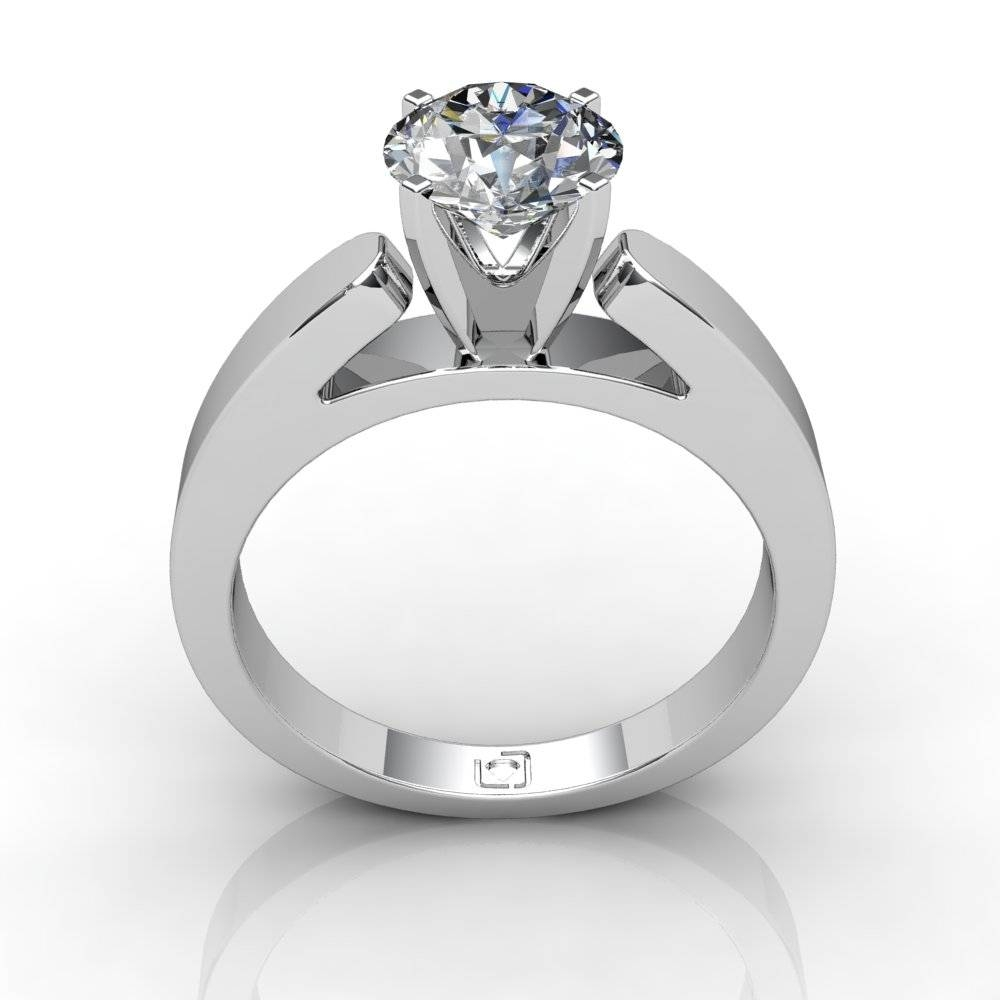14kt White Gold Flat Cathedral Style Solitaire Engagement Setting Regarding Flat Engagement Ring Settings (View 15 of 15)