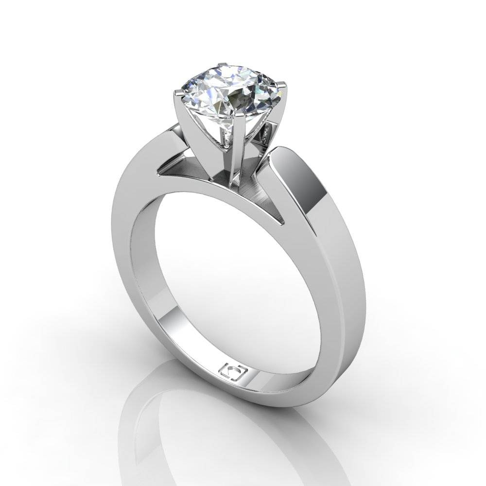 14kt White Gold Flat Cathedral Style Solitaire Engagement Setting With Flat Engagement Ring Settings (View 5 of 15)