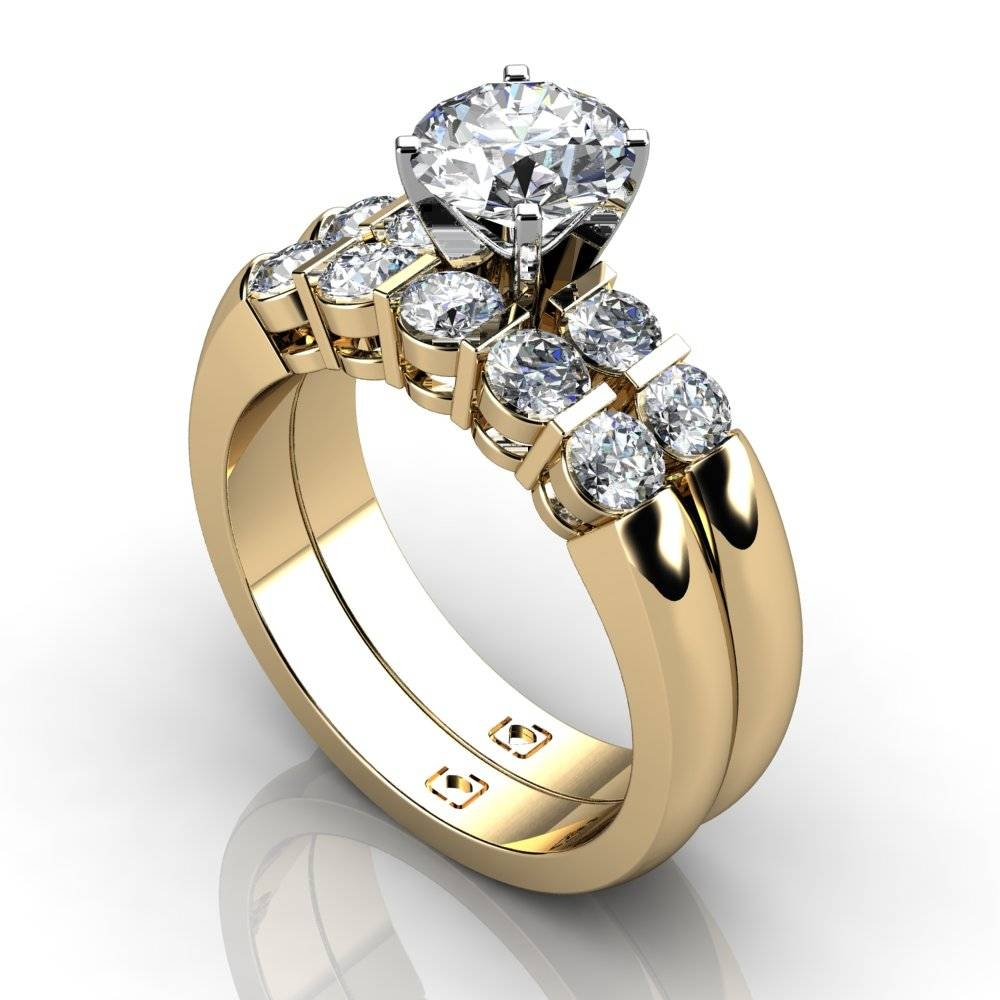 14Kt Yellow Gold Beautiful Bar Set Engagement Ring And Matching With Regard To Engagement Rings Pair (View 1 of 15)