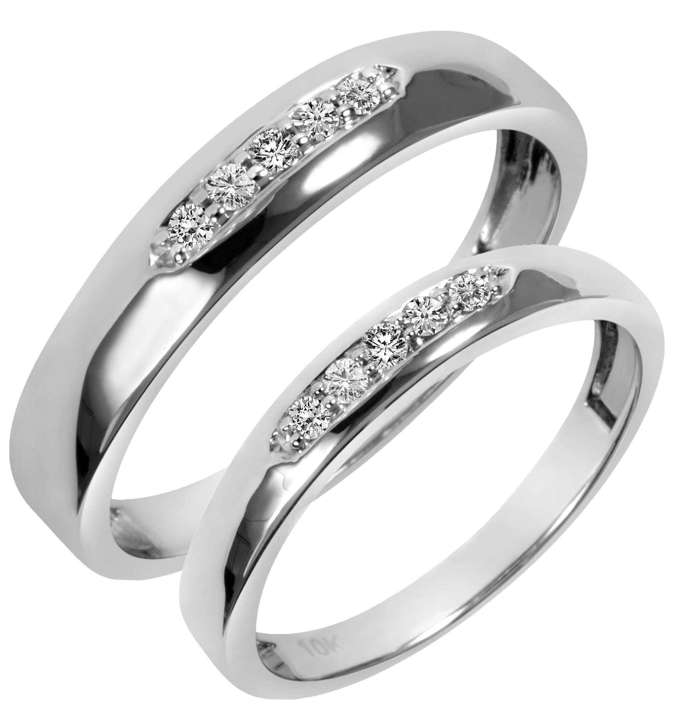 1/5 Carat T.w. Diamond His And Hers Wedding Band Set 10K White Gold Inside Inset Engagement Rings (Gallery 14 of 15)