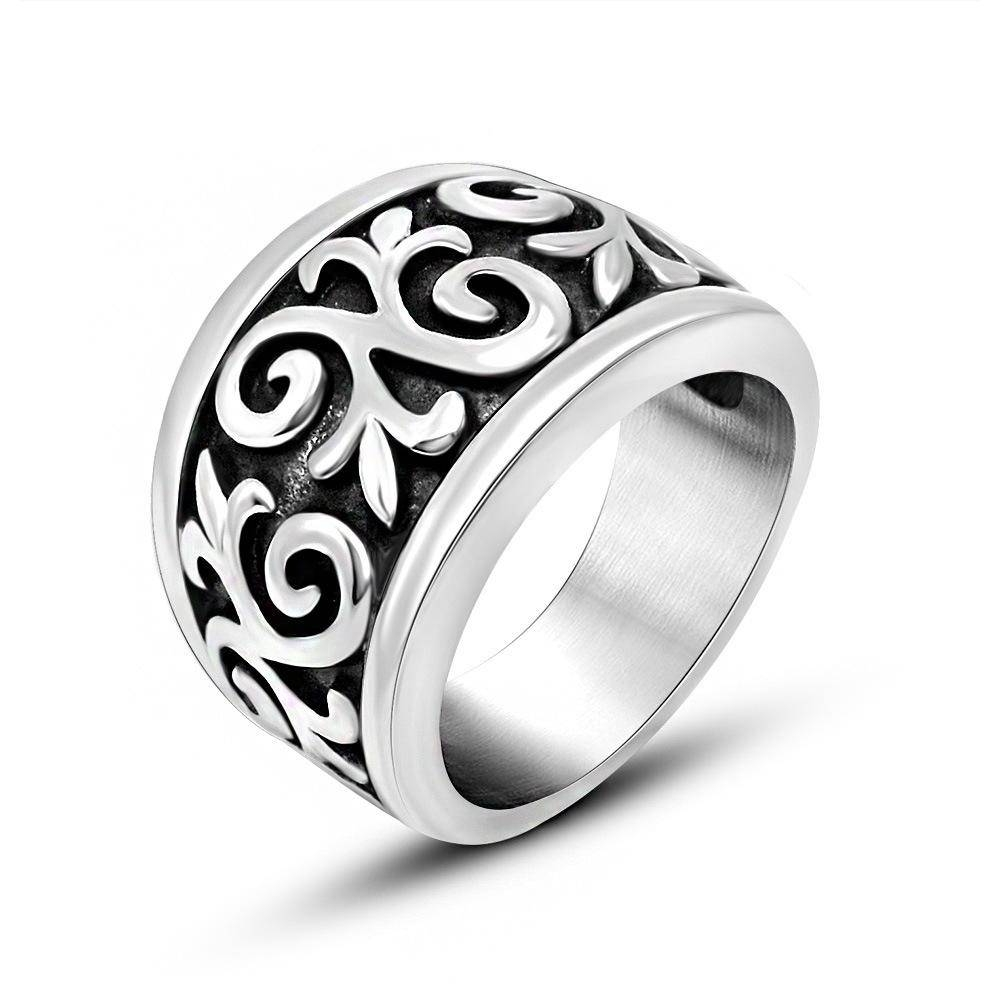 15Mm Wide Men's Vintage Bands Scroll Rings 316L Stainless Steel For Tribal Engagement Rings (View 1 of 15)