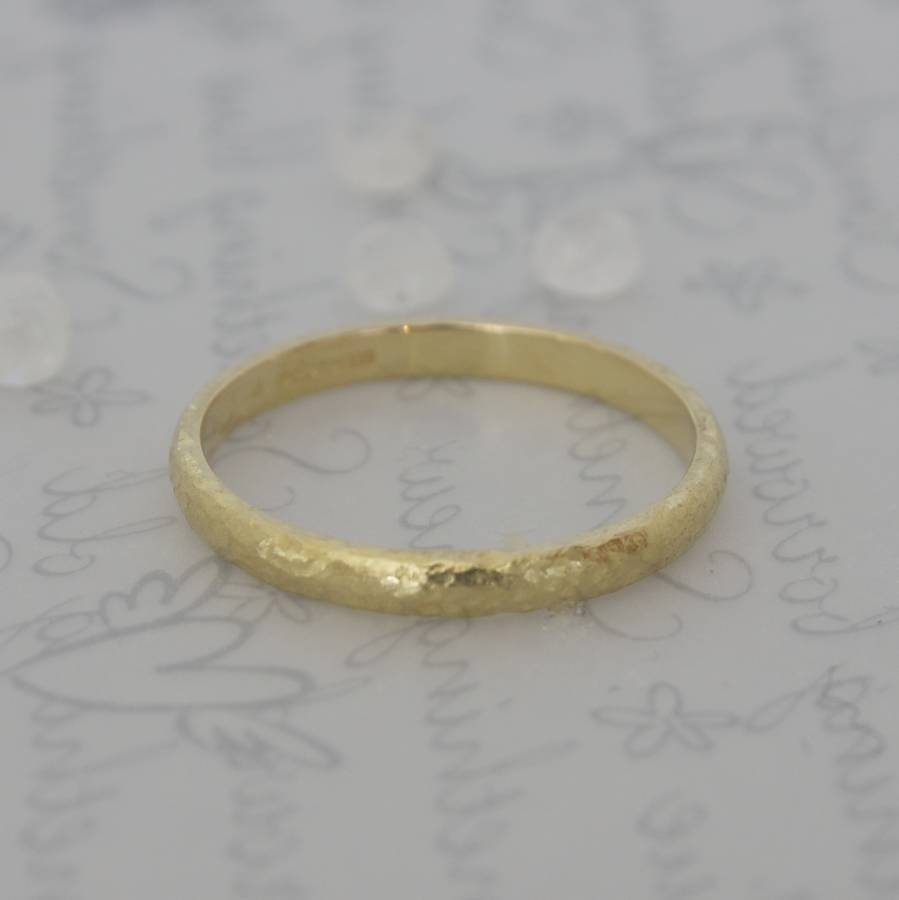 18 Carat Gold Textured Wedding Ringcaroline Brook Inside 18 Karat Wedding Rings (View 2 of 15)