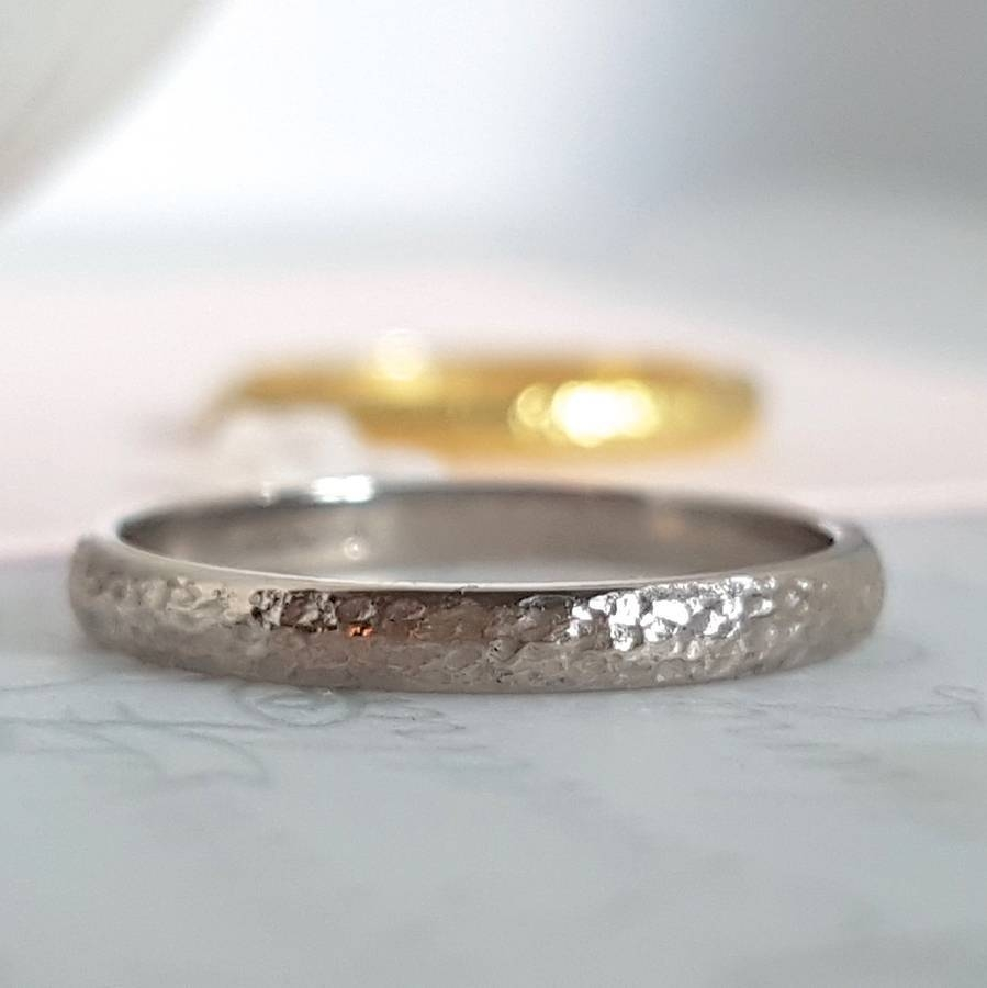 18 Carat Gold Textured Wedding Ringcaroline Brook With 18 Karat Gold Wedding Rings (View 11 of 15)