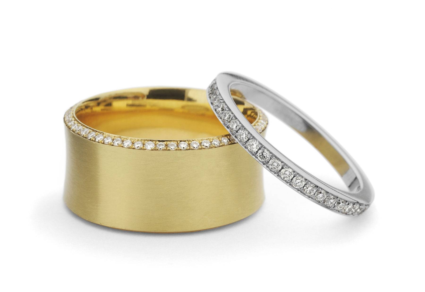 18 Carat Yellow Gold & Platinum Wedding And Eternity Bands Within 18 Karat Gold Wedding Rings (View 6 of 15)