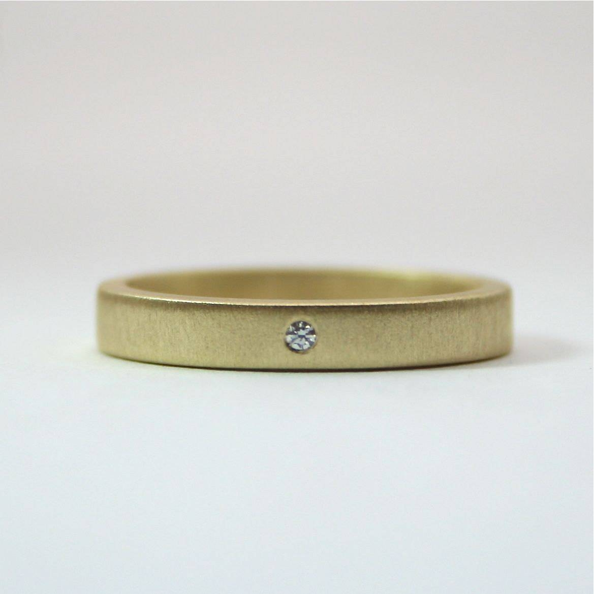 18 Karat Yellow Gold Tiny Diamond Ring 3 Mm Matte Finish Inside Small Diamond Wedding Bands (View 1 of 15)