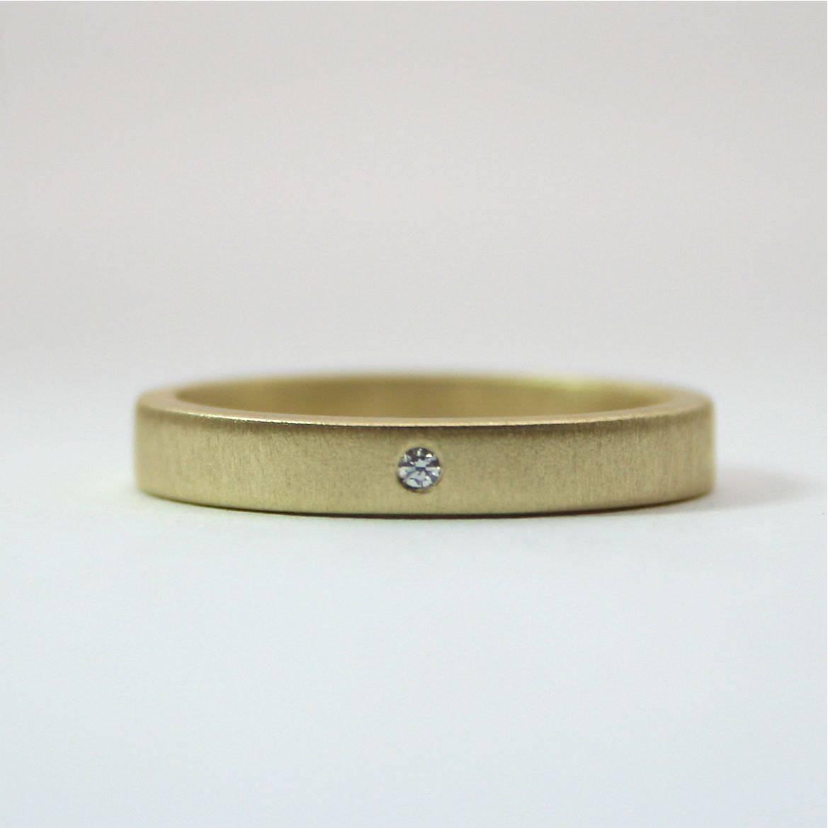 18 Karat Yellow Gold Tiny Diamond Ring 3 Mm Matte Finish Inside Small Diamond Wedding Bands (View 9 of 15)