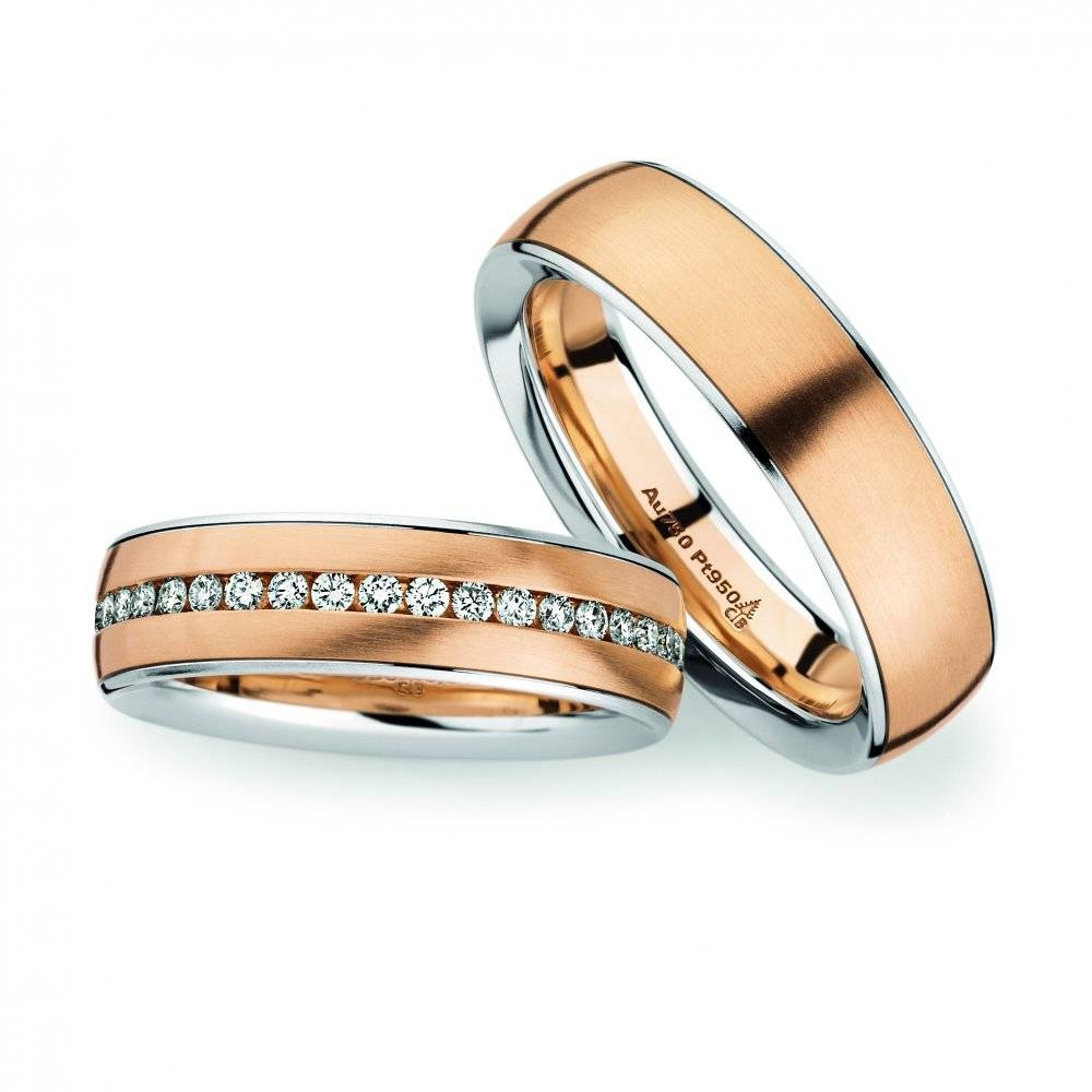 18Ct Rose Gold & Platinum Wedding Rings – Christian Bauer Pertaining To Rose Gold Wedding Bands Sets (View 1 of 15)