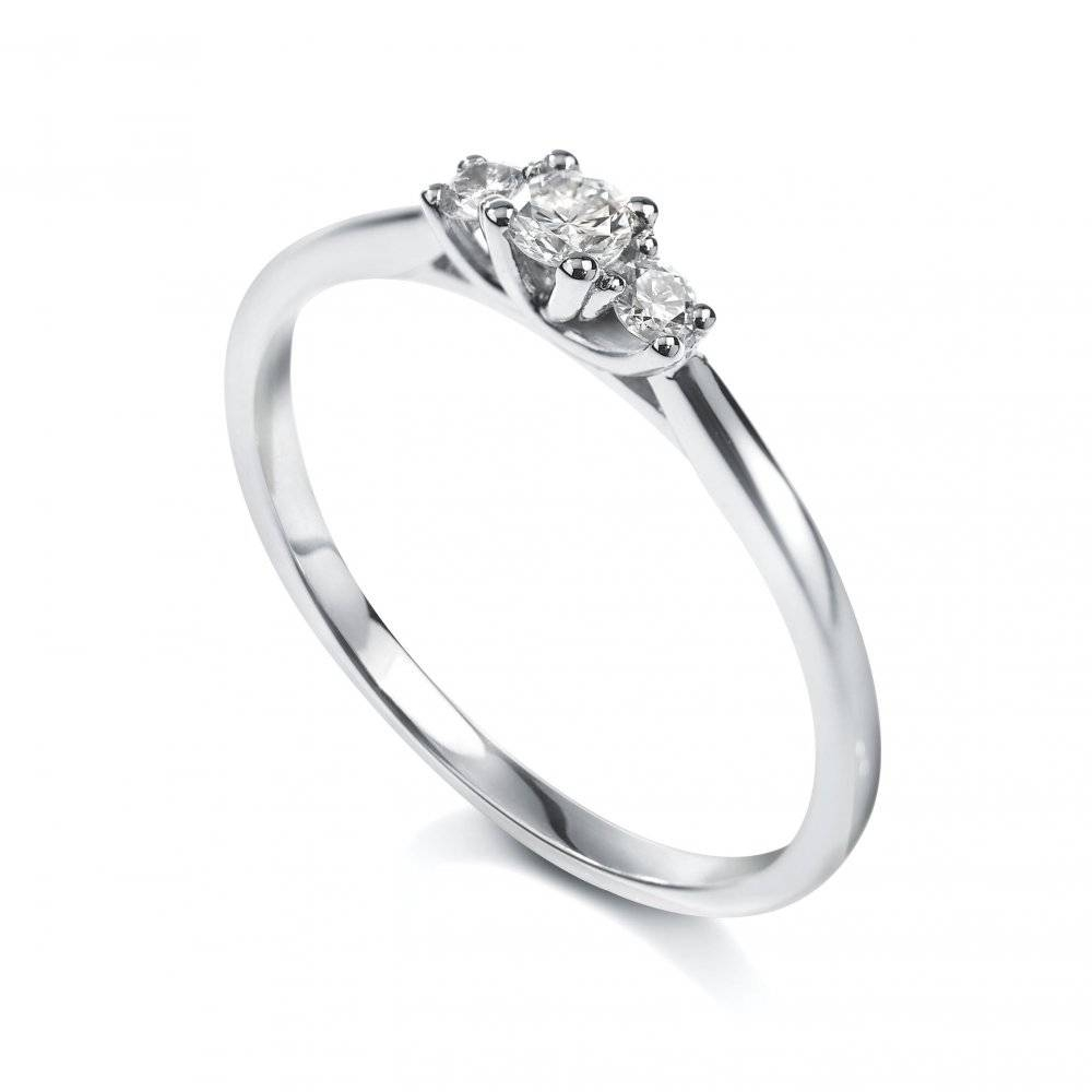 18Ct White Gold Diamond Trilogy Ring – Womens Jewellery From In White Gold Trilogy Engagement Rings (View 3 of 15)
