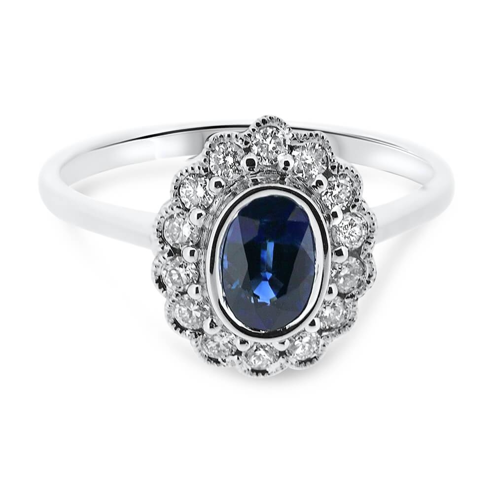 18Ct White Gold Oval Sapphire And Diamond Cluster Vintage For Sapphire And Diamond Wedding Rings (View 1 of 15)