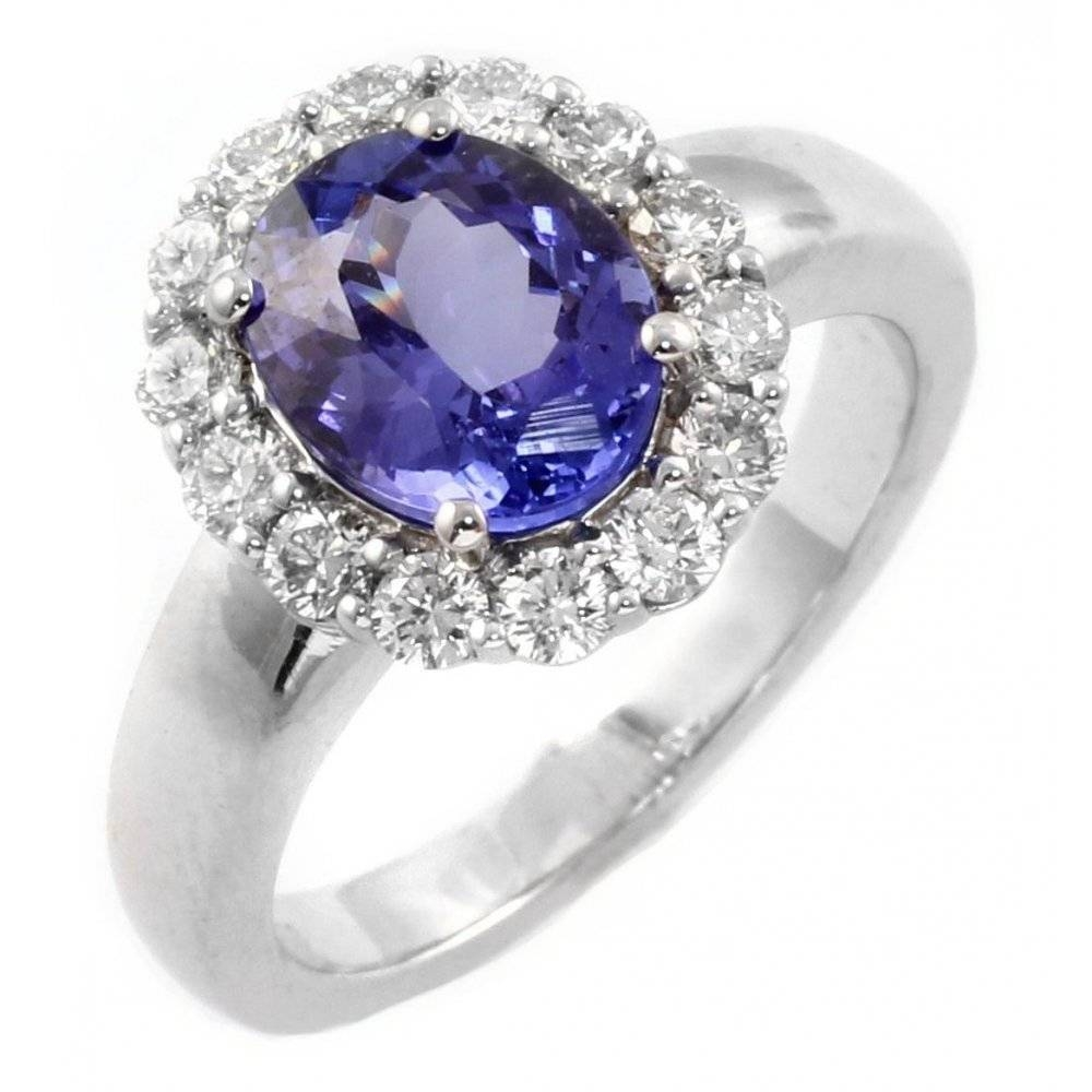 18Ct White Gold Oval Tanzanite & Diamond Cluster Ring. – Jewellery Throughout Tanzanite White Gold Engagement Rings (Gallery 11 of 15)