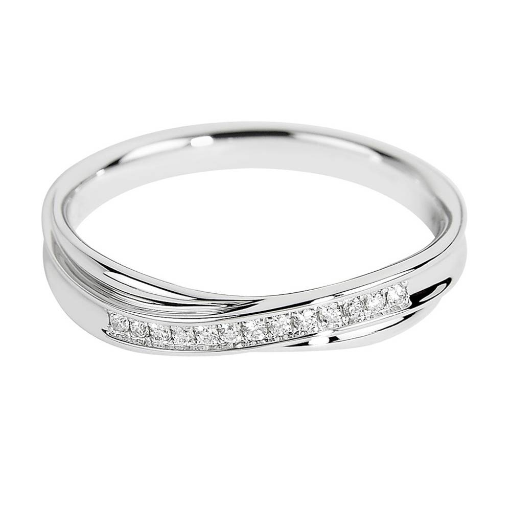 18ct White Gold Twist Design Channel Set Diamond Wedding Ring Inside Twisted Diamond Wedding Bands (Gallery 7 of 15)