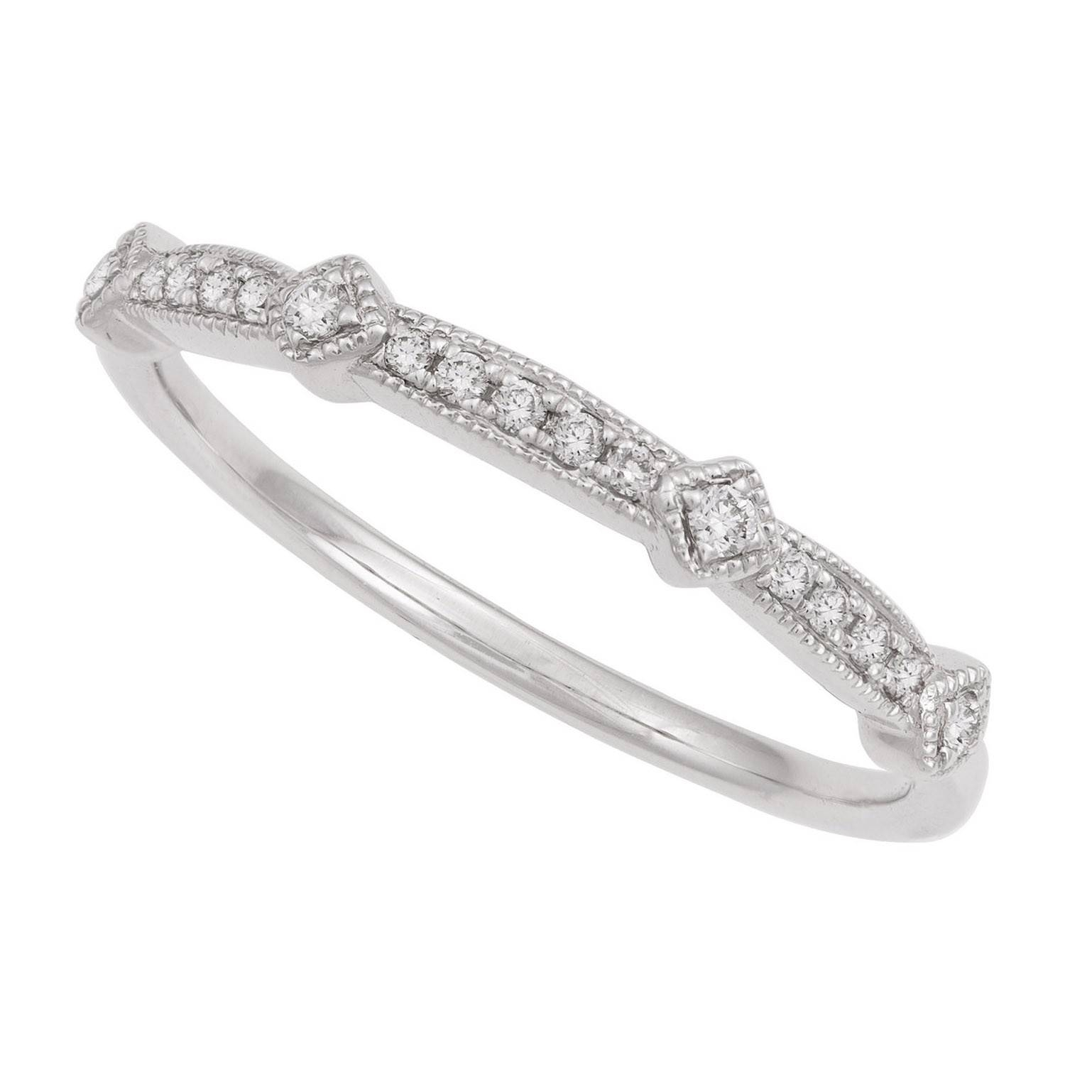 18ct White Gold Vintage Style Wedding Ring Pertaining To Old Fashioned Style Wedding Rings (View 11 of 15)