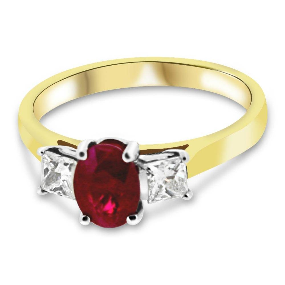 18Ct Yellow Gold Ruby And Diamond Vintage Engagement Ring With Ruby Engagement Rings Yellow Gold (View 1 of 15)