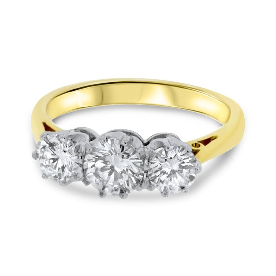 18Ct Yellow Gold Three Stone Diamond Vintage Engagement Ring Ts47 Throughout Three Gold Wedding Rings (View 2 of 15)