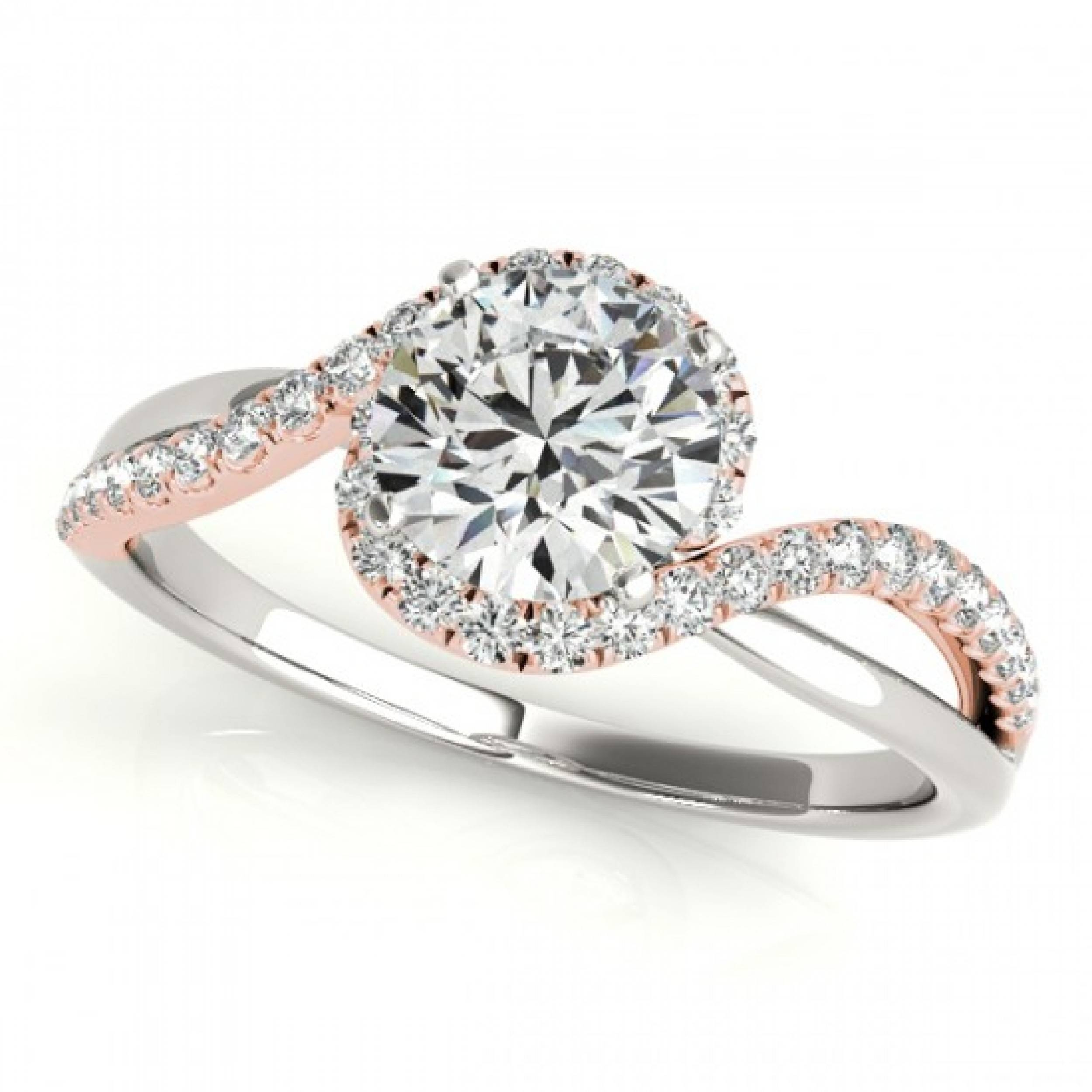 18Ctw Rose Two Tone Halo Aileen Diamond Engagement Diamond Ring In With Rose And White Gold Wedding Rings (View 1 of 15)