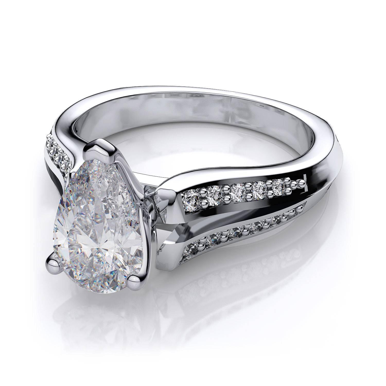 18ctw Split Shank Pear Shape Sidestones Engagement Ring Setting In With Pear Shaped Engagement Ring Settings (View 14 of 15)