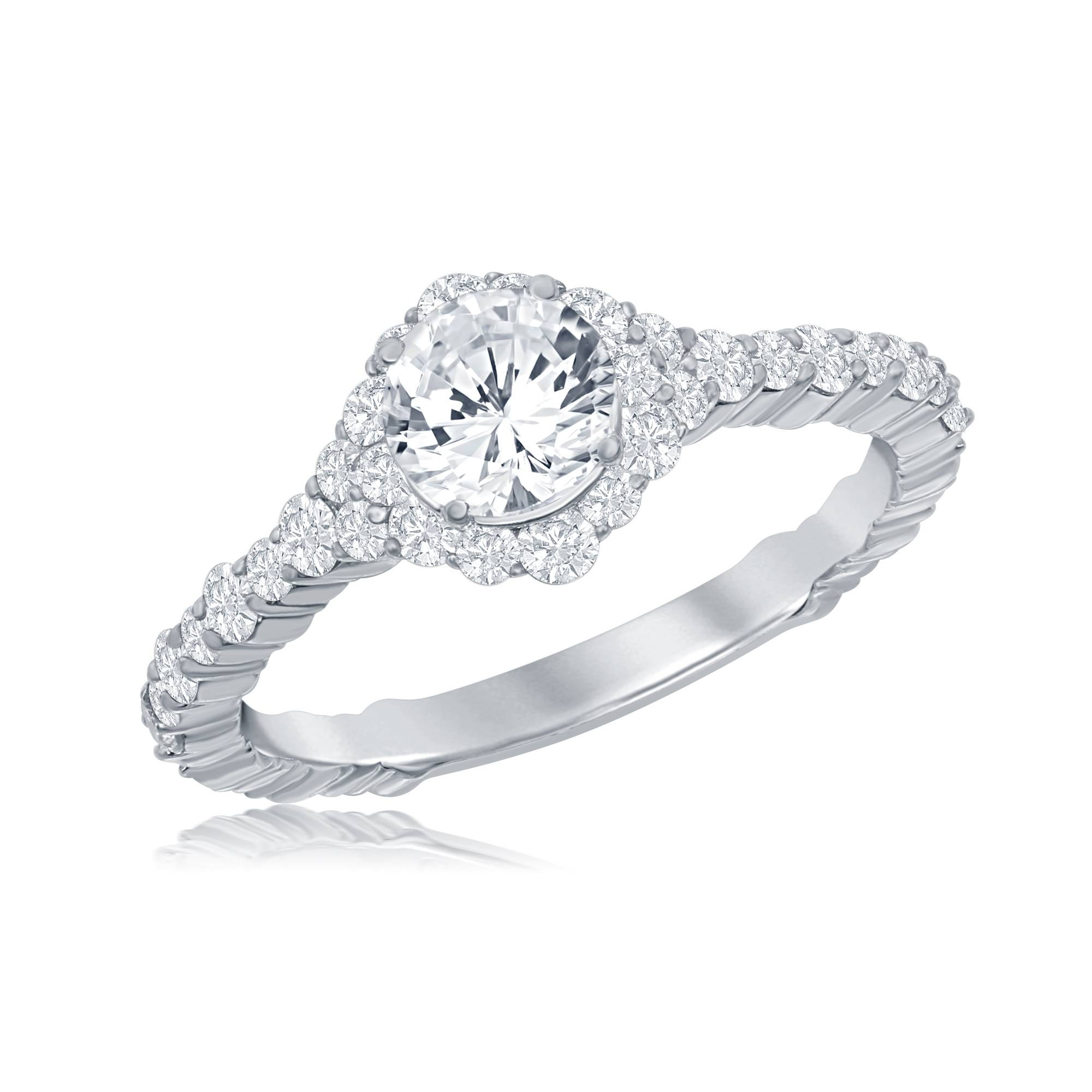 18K Cascade Rd Halo Ring – Idc Jewelry Store Tampa | Diamond Inside Tampa Engagement Rings (View 4 of 15)
