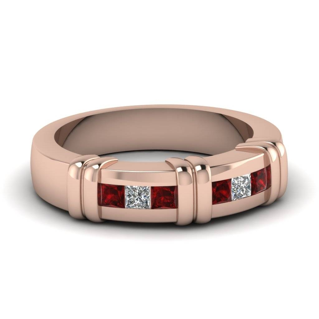 18K Rose Gold Red Ruby Men's Wedding Ring | Fascinating Diamonds For Men's Wedding Bands With Ruby (View 2 of 15)