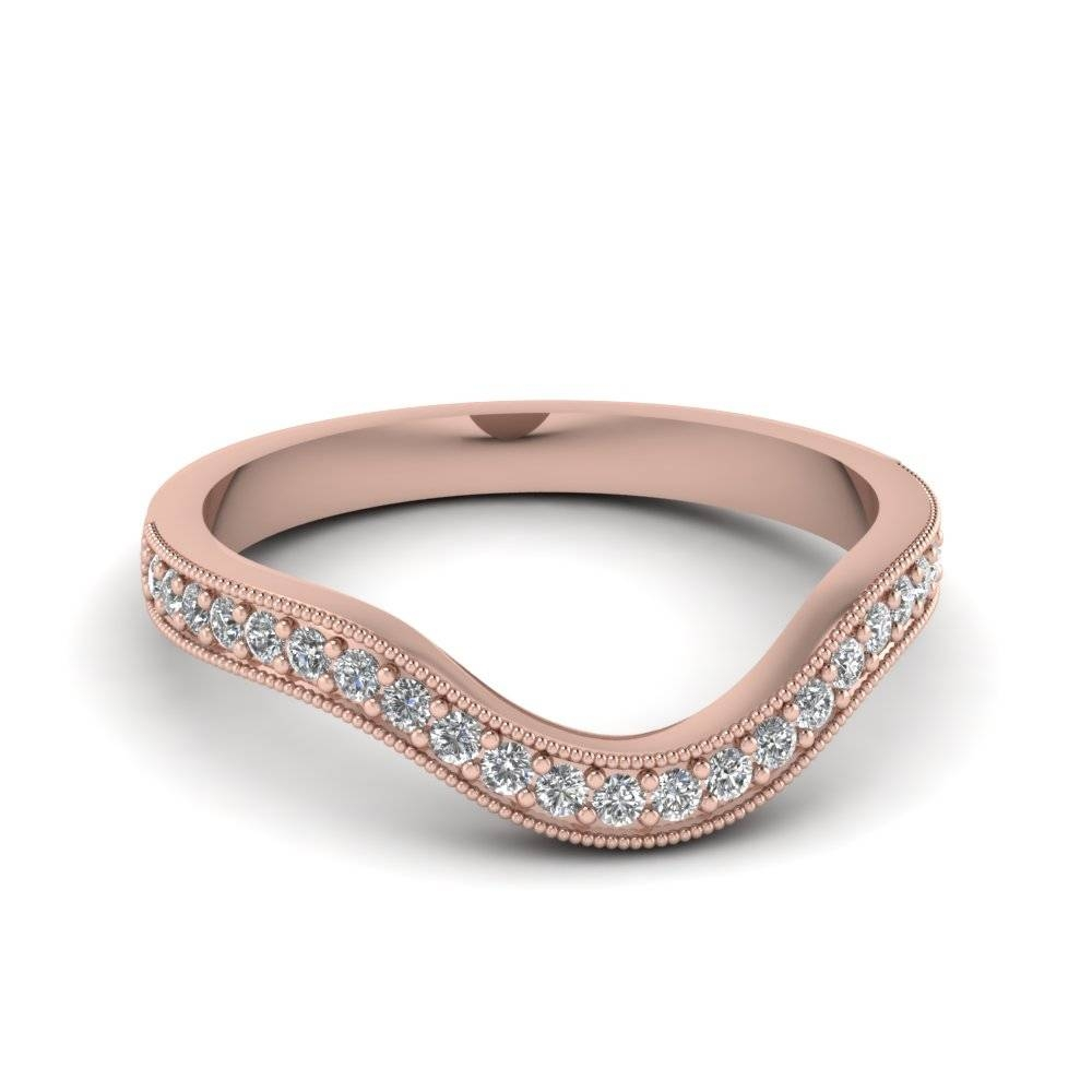18K Rose Gold Round Cut Pave White Diamond Wedding Band Pertaining To Cheap Rose Gold Wedding Bands (View 1 of 15)