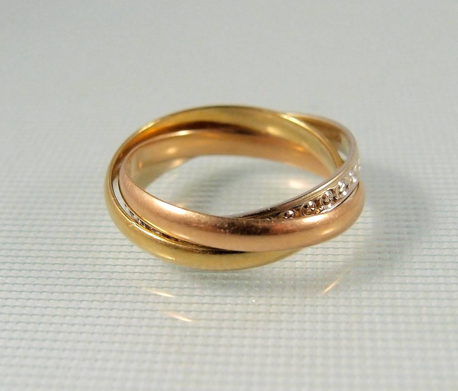 18k Solid Gold Trinity Wedding Ring Vintage Rolling Wedding Band With Interlocking Wedding Bands (View 10 of 15)