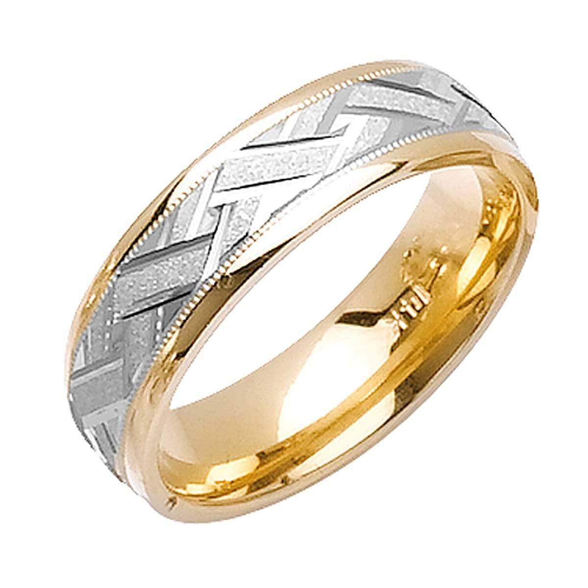 18K Two Tone Gold Wicker Braid Band 6Mm  3001930 – Shop At Wedding With Mens Braided Wedding Bands (View 6 of 15)