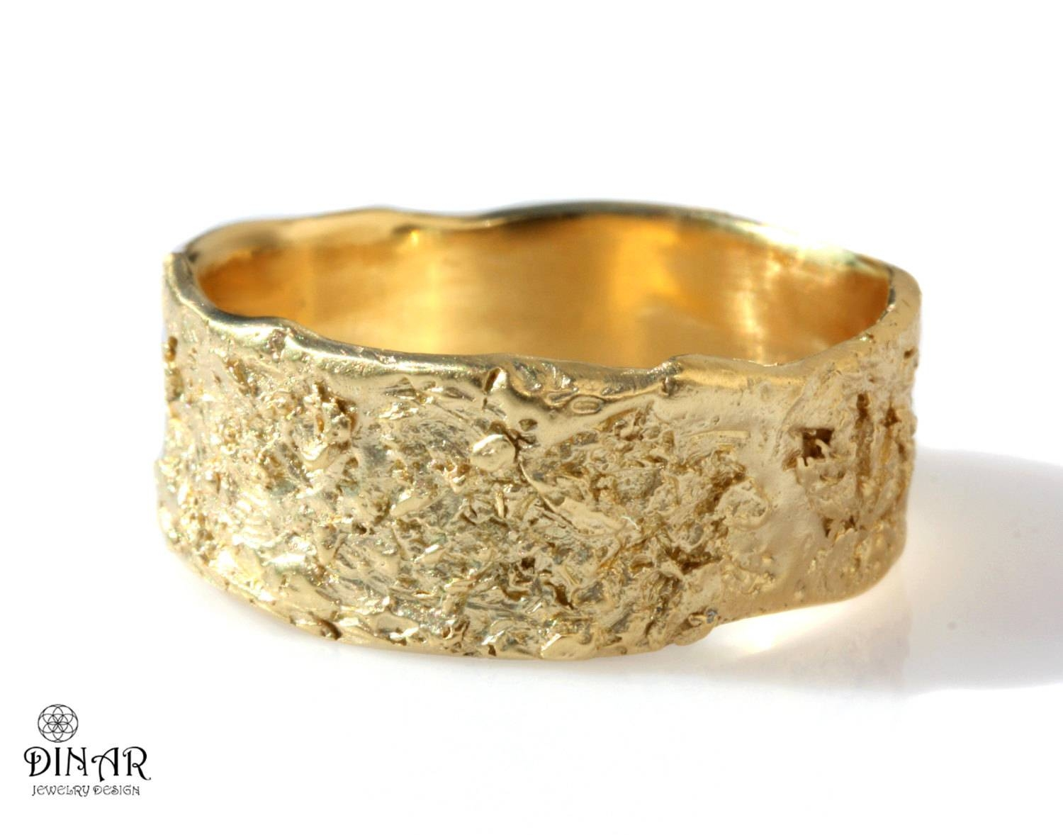 18K Wedding Band Rustic 14K Yellow Gold Ring Wide Band Regarding Women's Wide Wedding Bands (View 4 of 15)