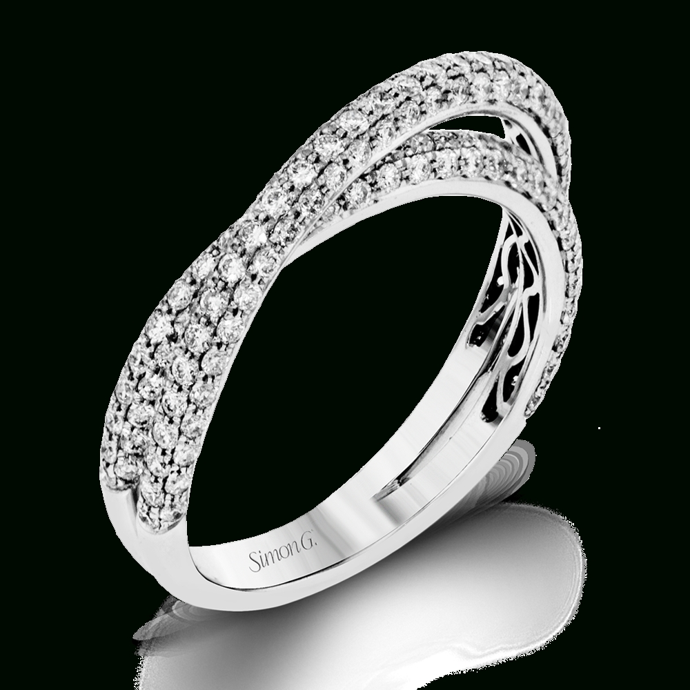 18K White Gold Crossing Diamond Wedding Bands – Fabled Collection In Engagement Rings Wedding Bands (View 2 of 15)