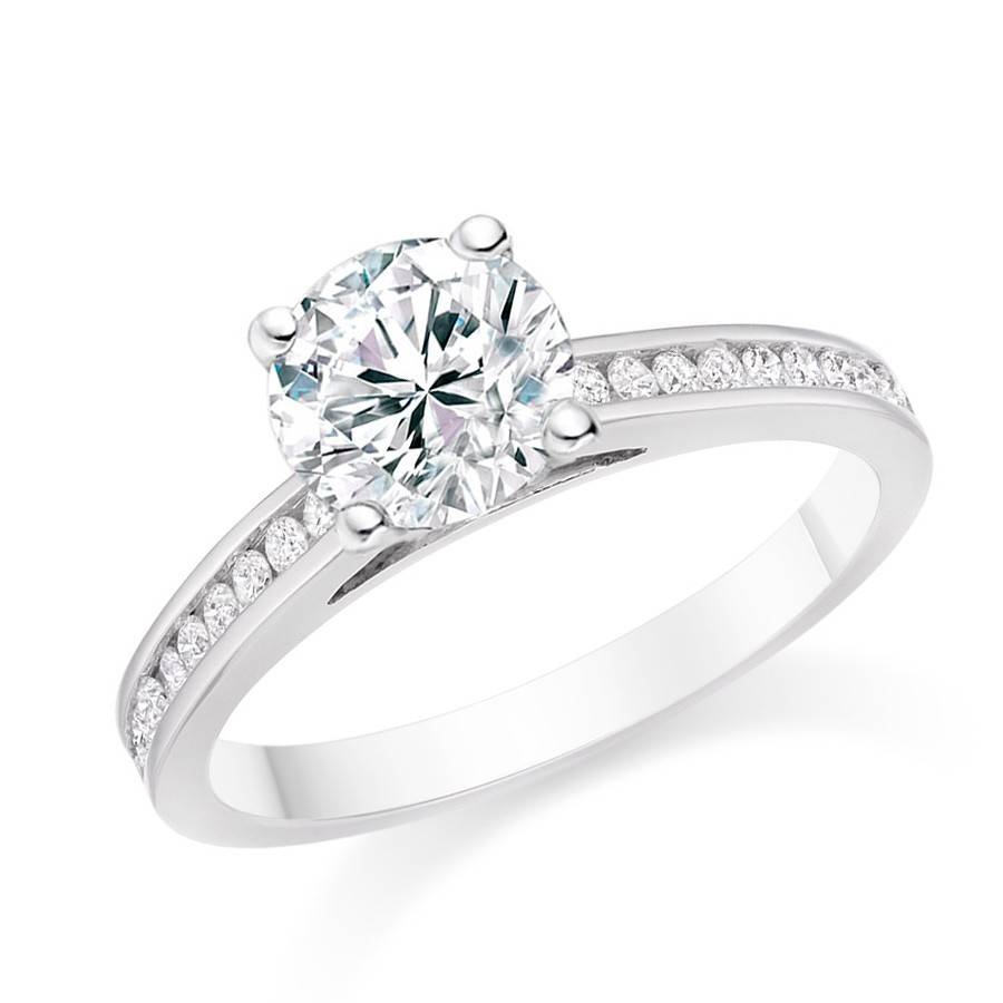 18K White Gold Engagement Ring With  (View 5 of 15)