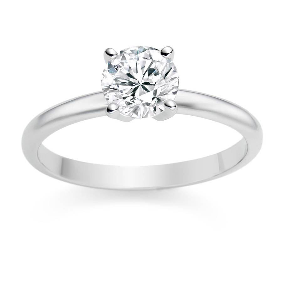 18K White Gold Engagement Ring With 1Ct Round Diamond E/si1 Within White Gold Wedding Rings With Diamonds (View 3 of 15)