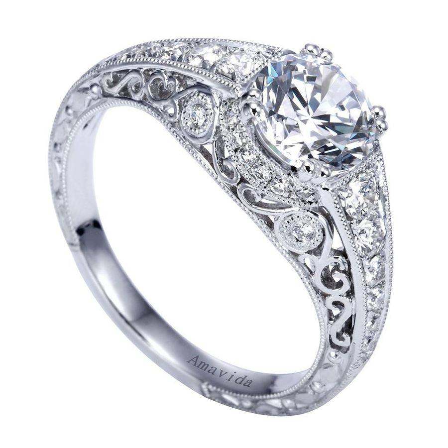 18K White Gold Filigree Diamond Engagement Ring Wedding Day Diamonds Intended For 18K White Gold Wedding Rings (View 3 of 15)