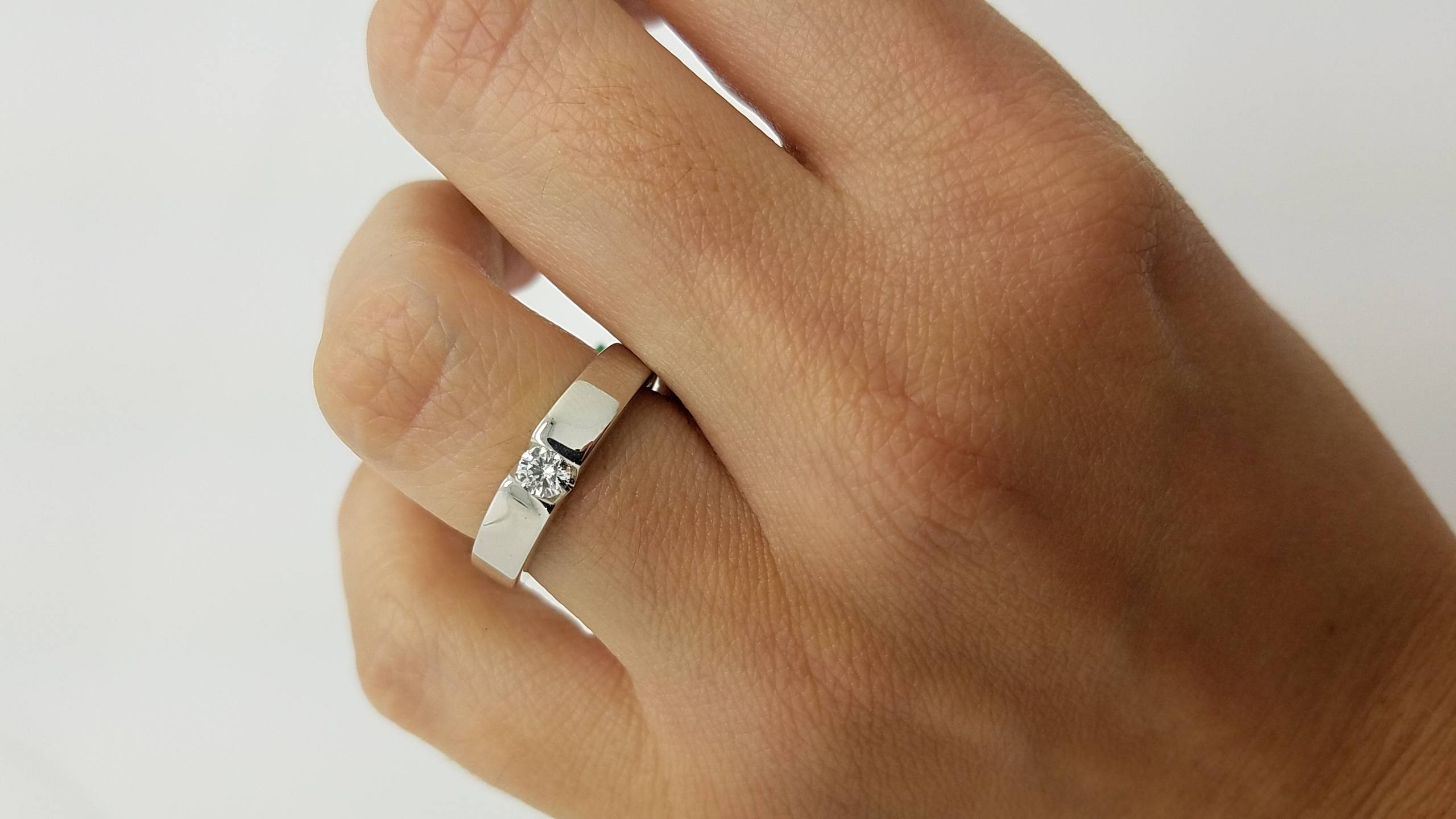 18k White Gold Flat Band Style (View 8 of 15)