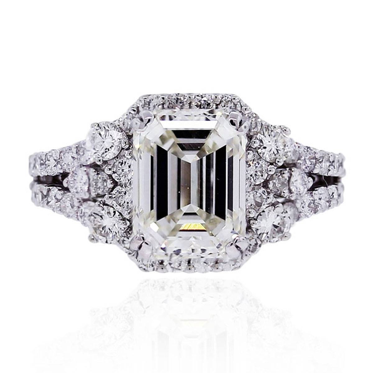 18k White Gold Gia 3ct Emerald Cut Diamond Engagement Ring Inside White Emerald Engagement Rings (View 2 of 15)