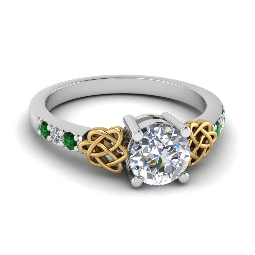 18K White Gold Prong Green Emerald Side Stone Engagement Rings With Emerald Celtic Engagement Rings (View 2 of 15)