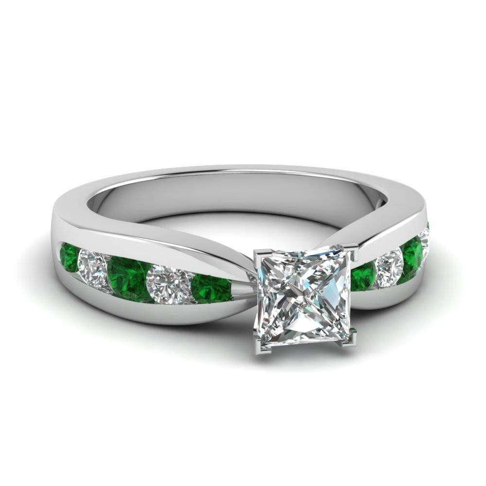 kwiat with rings diamond style ring emerald plat product stone solitaire tapered stones set cut side jewelry in baguette engagement platinum