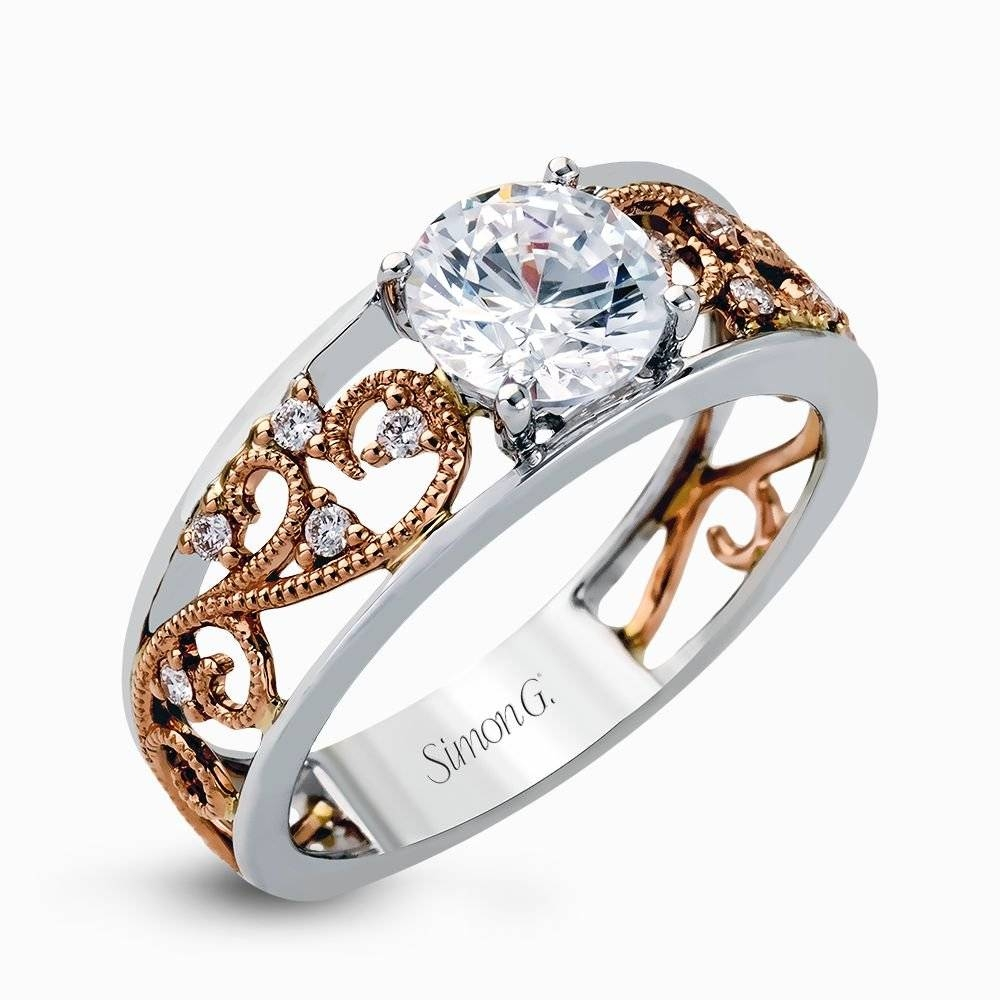 18K White & Rose Gold Intricate Design Engagement Ring – Duchess Inside Intricate Engagement Rings (View 2 of 15)