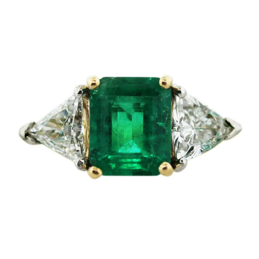 18k Yellow Gold Emerald Cut Emerald Diamond Ring Boca Raton Inside Emrald Engagement Rings (View 7 of 15)