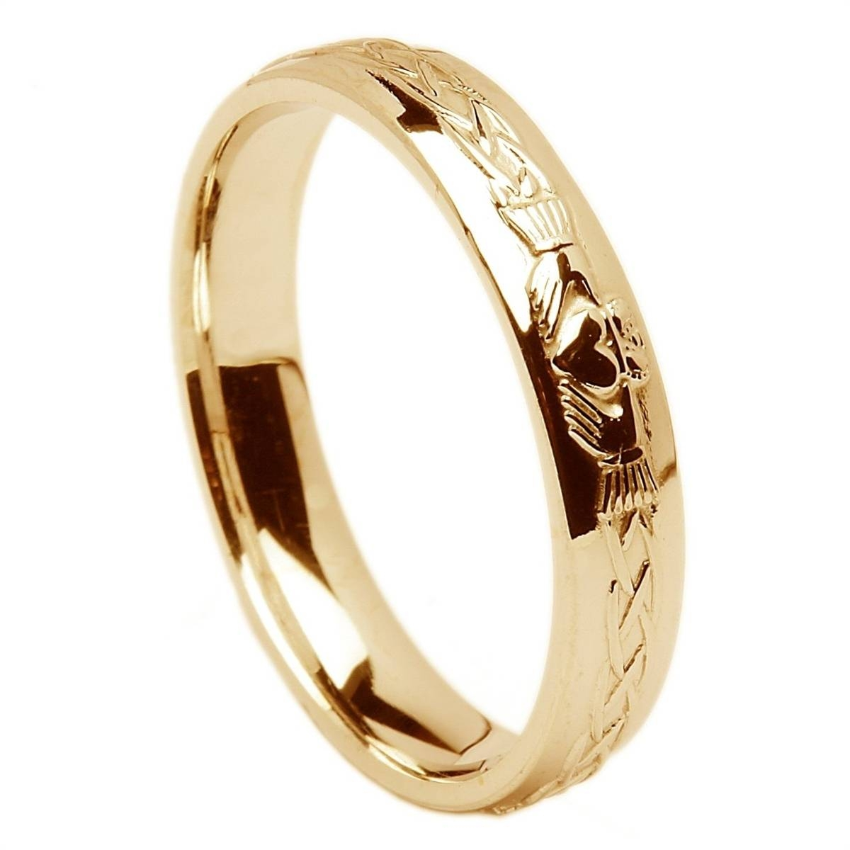 18K Yellow Gold Ladies Claddagh Celtic Wedding Ring  (View 2 of 15)