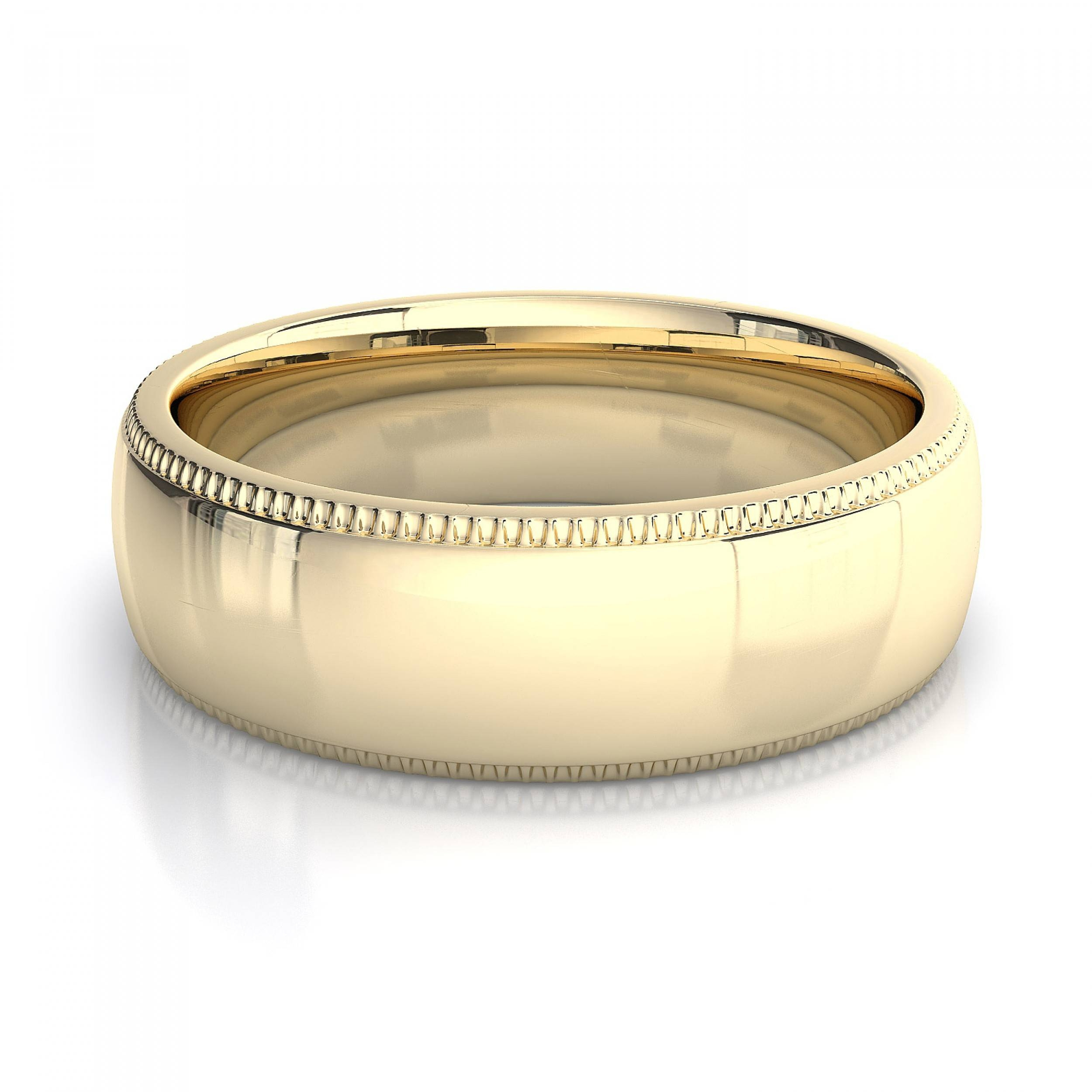 18K Yellow Gold Men's Milgrain Plain Wedding Band Intended For Yellow Gold Mens Wedding Rings (View 1 of 15)