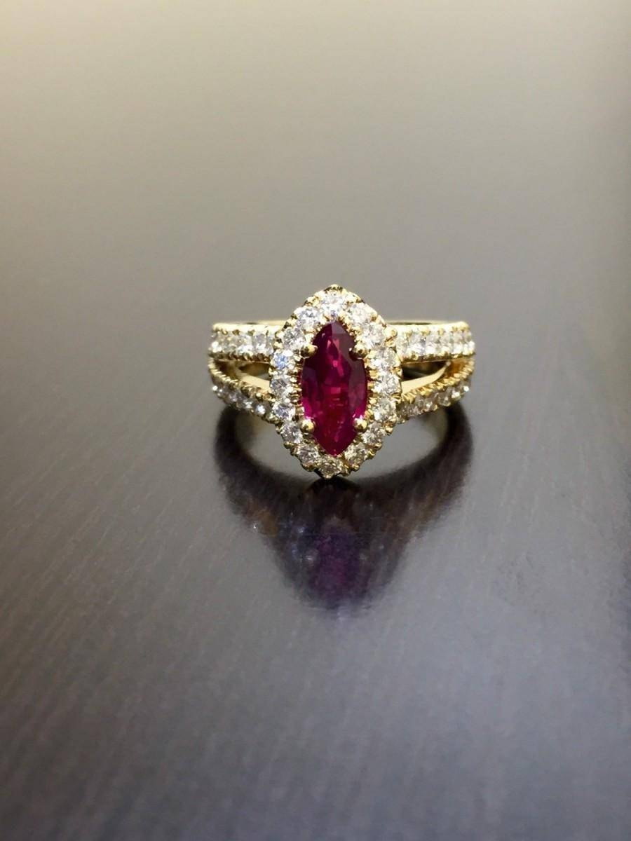 18k Yellow Gold Ruby Diamond Engagement Ring – 18k Gold Diamond Intended For Gold Ruby Engagement Rings (View 15 of 15)